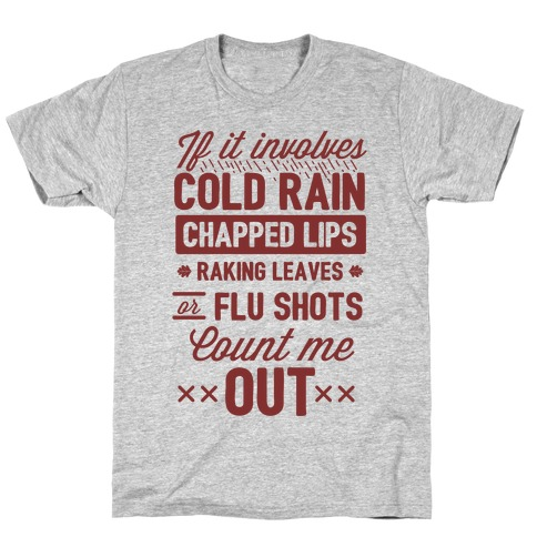 If It Involves Cold Rain, Chapped Lips, Raking Leaves, or Flu Shot - Count Me Out Mens T-Shirt