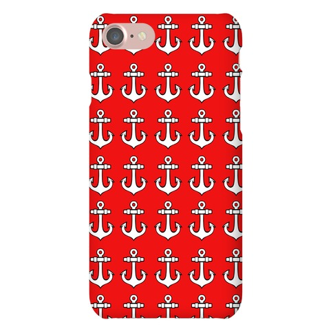 Red Anchor Pattern Phone Case