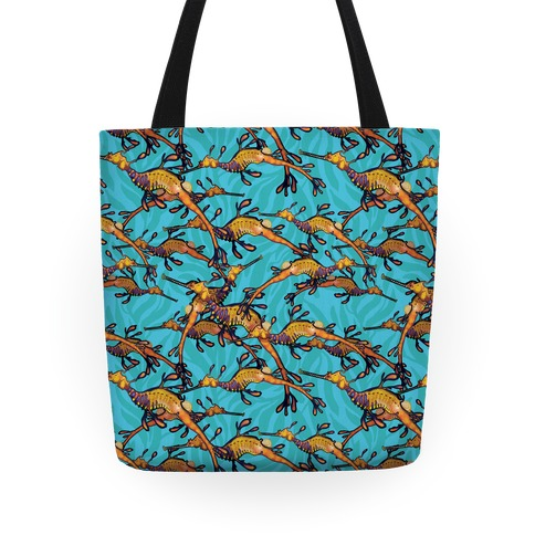 Weedy Sea Dragon Nautical Pattern Tote
