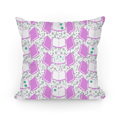 Pressed Wildflowers Book Pattern (Purple) Pillow