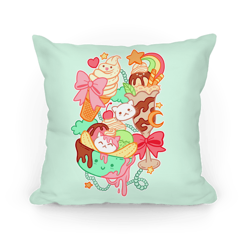 Cute Cat Sundae & Kawaii Ice Cream Pillow