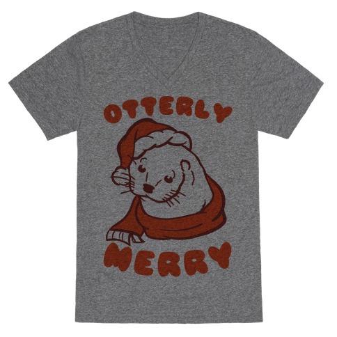 Otterly Merry V-Neck Tee Shirt