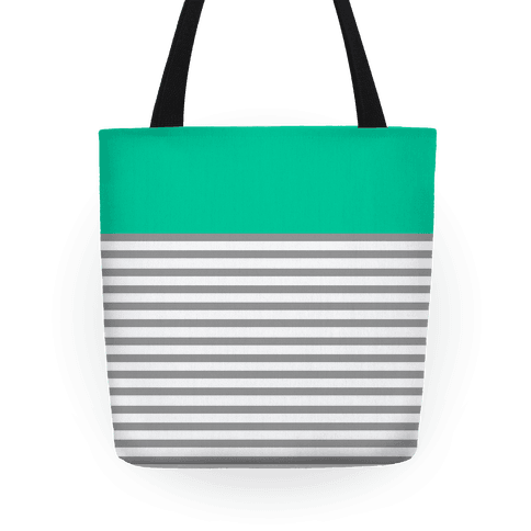Green Color Block Stripe Tote