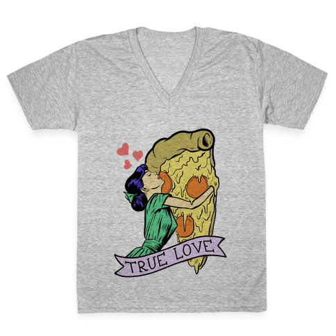 True Love Comics and Pizza V-Neck Tee Shirt