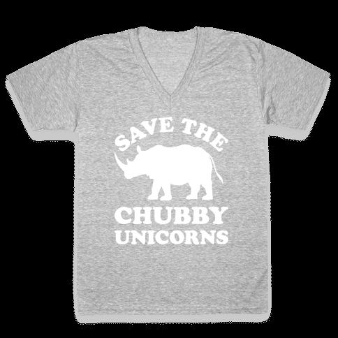 Save The Chubby Unicorns V-Neck Tee Shirt