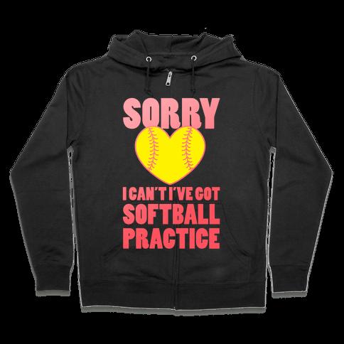 Softball Practice Zip Hoodie