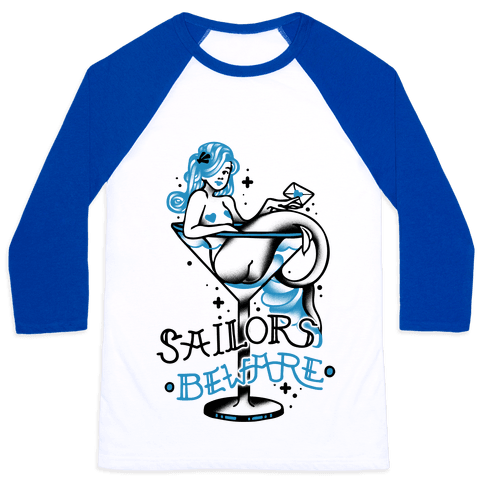 Sailors Beware Classic Tattoo Baseball Tee
