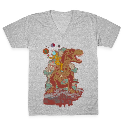 Dinosaur Strength Tarot V-Neck Tee Shirt