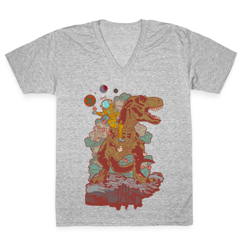 Dinosaur Strength Tarot V-Neck Tee Shirt