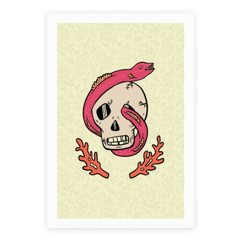 Skull and Coral Crossbones Poster