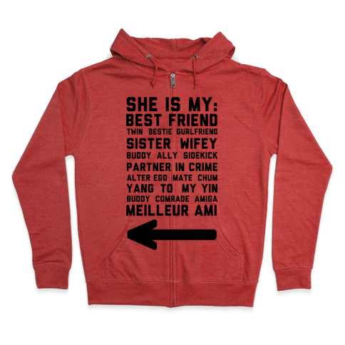 She Is My Best Friend Twin Bestie 2 Zip Hoodie