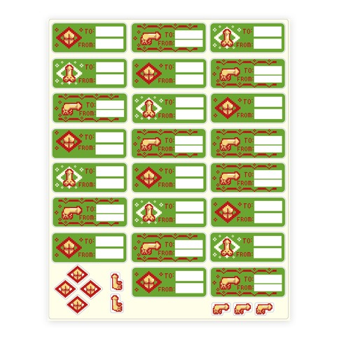 Christmas Penis and Ass Gift Sticker/Decal Sheet