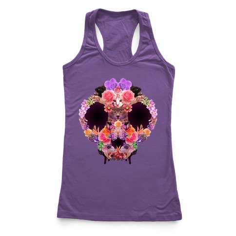 Floral Cat Skull Collage Racerback Tank Top