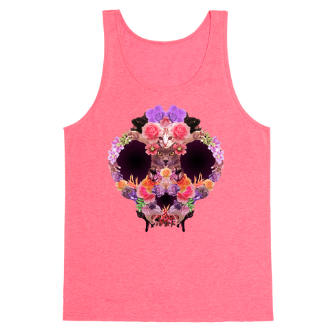 Floral Cat Skull Collage Tank Top