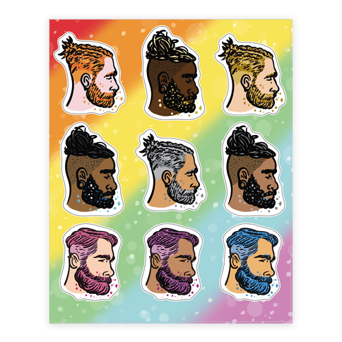 Glitter Beards, Braids and Man Buns  Sticker/Decal Sheet