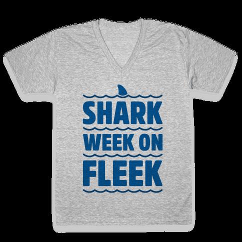 Shark Week On Fleek V-Neck Tee Shirt