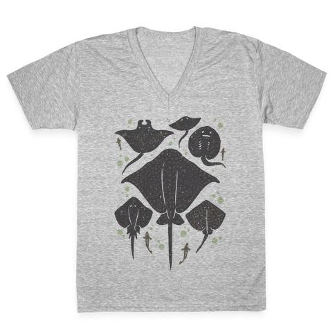 Family Of Stingrays V-Neck Tee Shirt