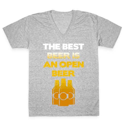 Open Beer V-Neck Tee Shirt