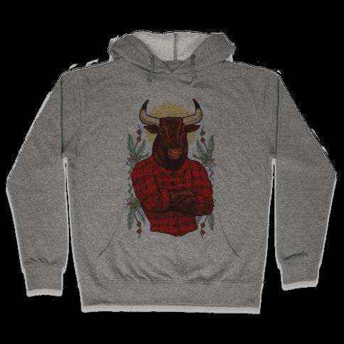 Flannel Taurus Hooded Sweatshirt