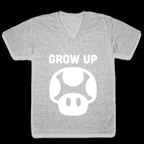 Red Mushroom (Grow Up) V-Neck Tee Shirt