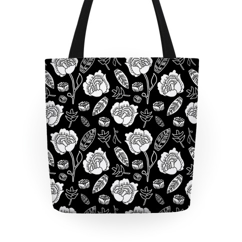 Floral and Leaves Pattern (Black) Tote