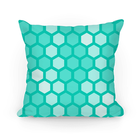 Large Teal Geometric Honeycomb Pattern Pillow