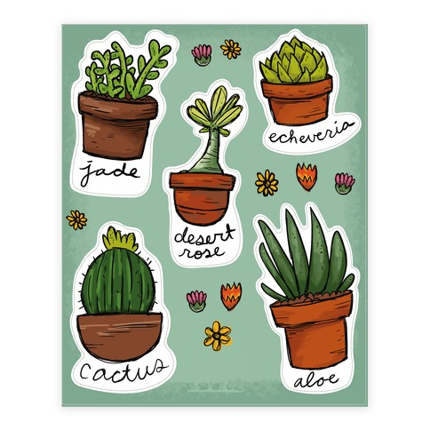 Cute Succulent Sticker and Decal Sheet