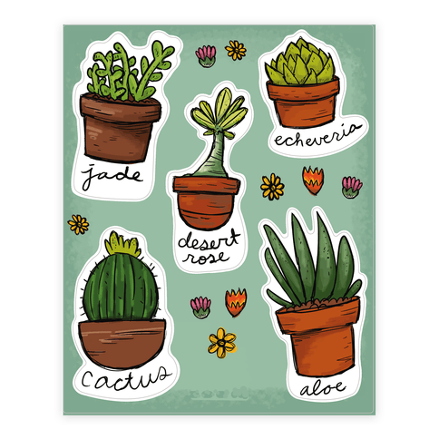 Cute succulent sticker decal sheet
