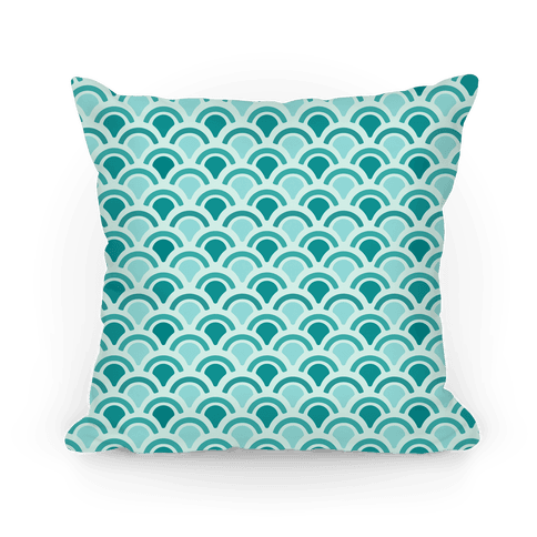 Blue Mermaid Scales Pattern Pillow