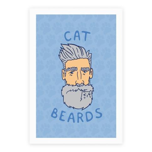 Grey Cat Beards Poster