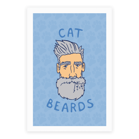 Grey Cat Beards Poster