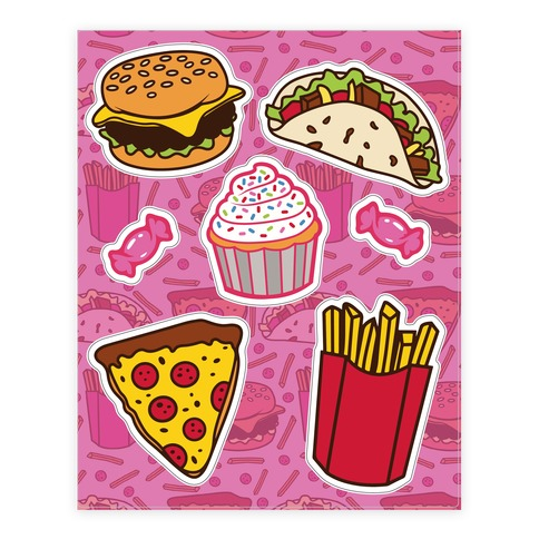 Fun Junk Food  Sticker and Decal Sheet