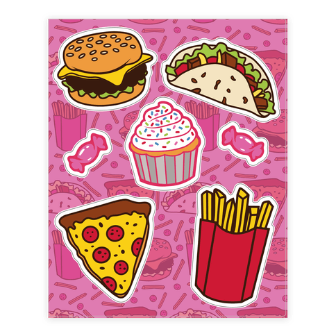 Fun Junk Food  Sticker/Decal Sheet