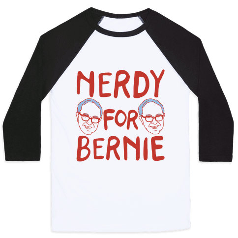 Nerdy For Bernie Baseball Tee