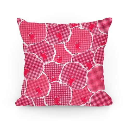 Pink Poppy Flower Pattern Pillow
