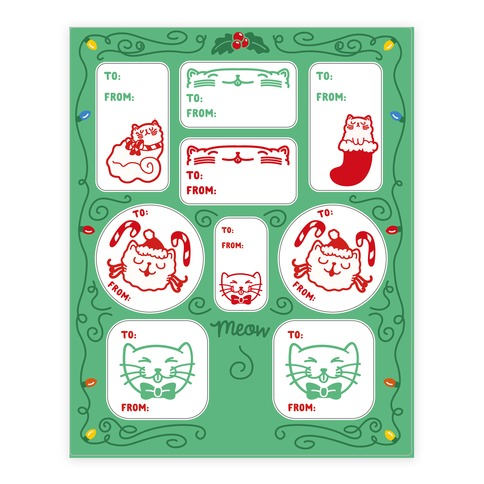 Christmas Cat Gift Tags Sticker and Decal Sheet
