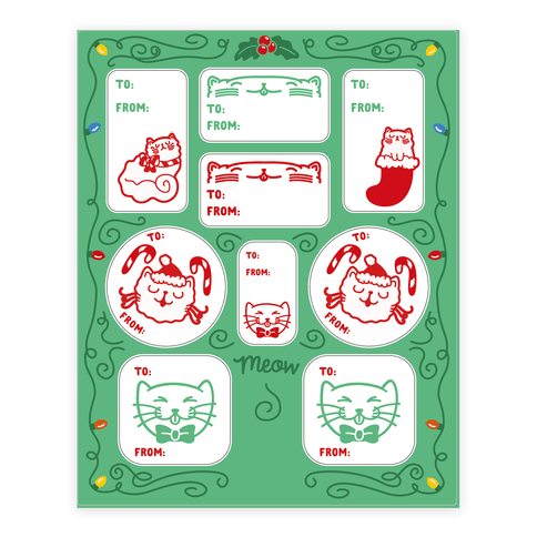 Christmas Cat Gift Tags Sticker/Decal Sheet