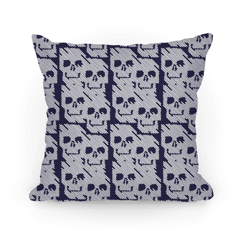 Repeating Skull Bars Pillow