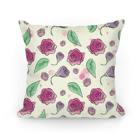 Watercolor Rose Pillow