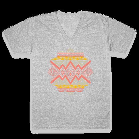 Aztec Mandala V-Neck Tee Shirt