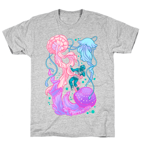 Deep Sea Diver & Jellyfish Mens T-Shirt