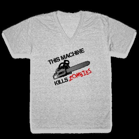 This Machine Kills Zombies V-Neck Tee Shirt