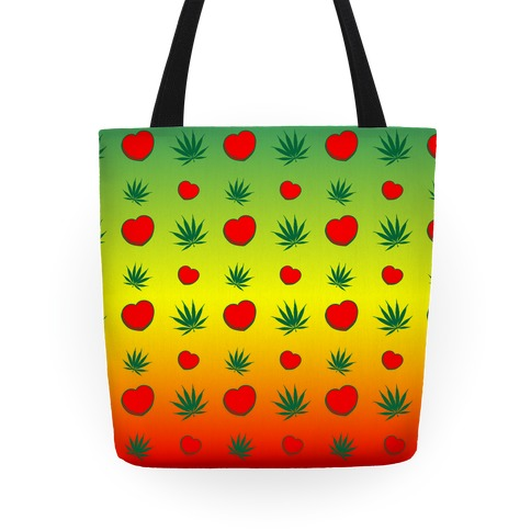 Weed and Hearts Rasta Ombre Pattern Tote