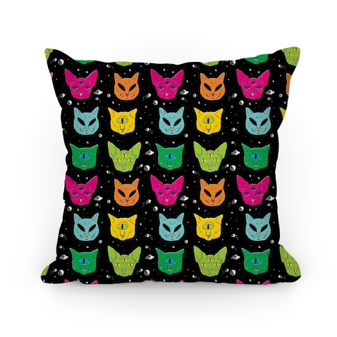 Alien Cat Pattern Pillow