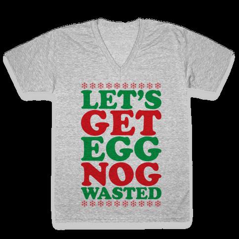 Eggnog Wasted V-Neck Tee Shirt