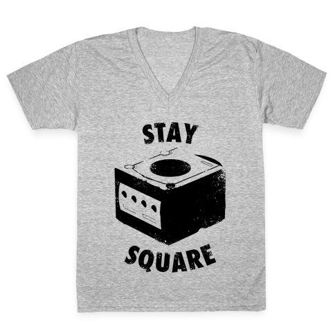 Stay Square (Vintage) V-Neck Tee Shirt