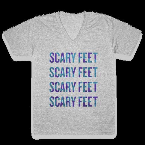Scary Feet Scary Feet (Text) V-Neck Tee Shirt