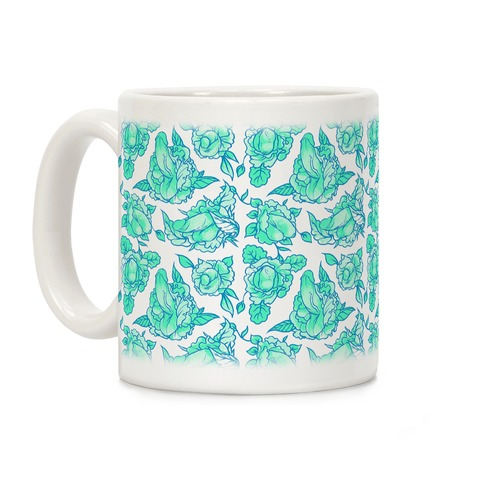 Floral Penis Teal Coffee Mug