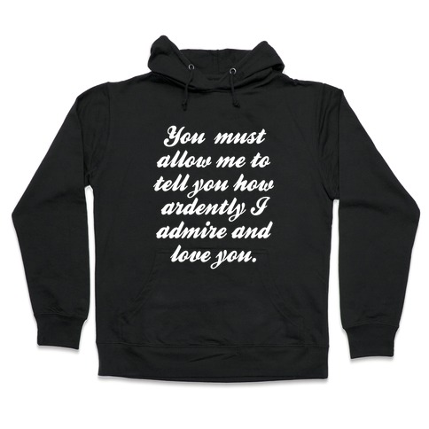 Mr. Darcy (White Ink) Hooded Sweatshirt