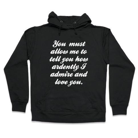 Mr. Darcy (White Ink) Hooded Sweatshirt